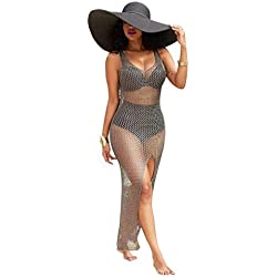 Jushye Hot Sale!!! Womens Bikini Cover up, Fashion Sexy Crochet Hollow Out Beach Swimsuit Fishnet Cover up Bathing Swimwear Dress (Khaki, XL)
