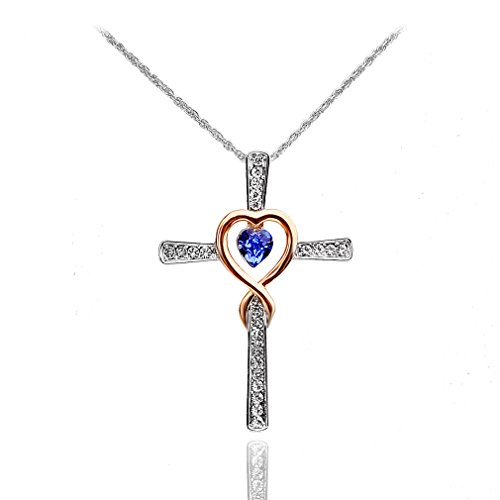 Xingzou Women Infinity and Love Cross Pendant Necklace with Blue Heart Crystals from Swarovski Jewelry ()