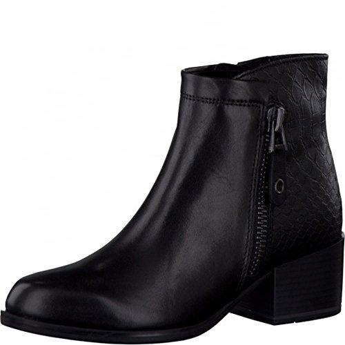 Marco Tozzi mediados talón tobillo botas de piel negro negro