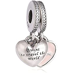 Christmas Gift Genuine Authentic 925 Sterling Silver A Pairs Travel Together Forever Pink Enamel & Clear CZ Charm For Pandora Bracelet Beads Valentine's Day Gifts Idea
