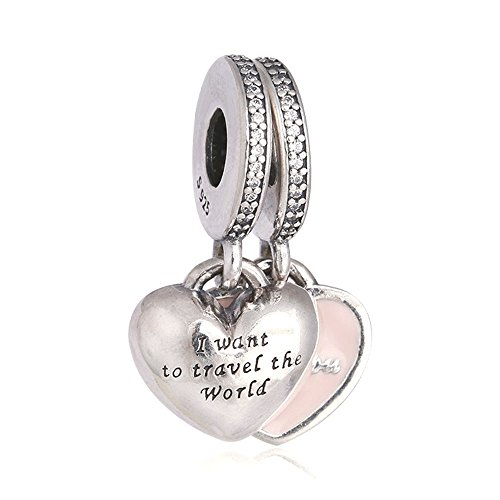 Christmas Gift Genuine Authentic 925 Sterling Silver A Pairs Travel Together Forever Pink Enamel & Clear CZ Charm For Pandora Bracelet Beads+ gift box](Travel Bead For Pandora Bracelet)