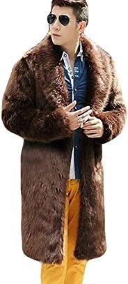 Mens Faux Fur Coat Long Jacket Winter Thick Warm Furry Overcoat Outwear Parker Coat