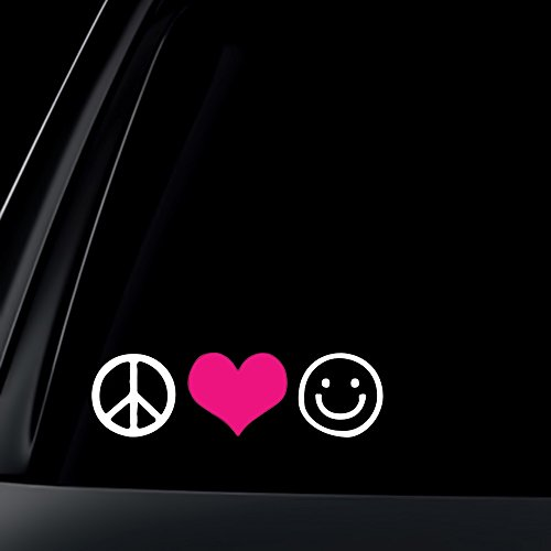 Pink Peace Heart (Peace Love Happiness with PINK Heart Car Decal / Sticker)