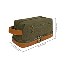 Becko Leather Canvas Travel Toiletry Dopp Kit Travel Shaving Grooming Bag with Carry Handle for Men and Women (Canvas toiletry bag)