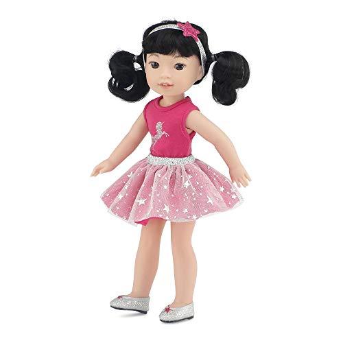 에밀리 상승 반짝이는 여자 14 인치 인형 옷을 위한 유행 기원|4 조각 유니콘 14 인형 용의 짧은 옷을 포함하여 반짝이는 신발  | WELLIE WISHER 인형 옷 반짝이 소녀 인형 | 선물 박스