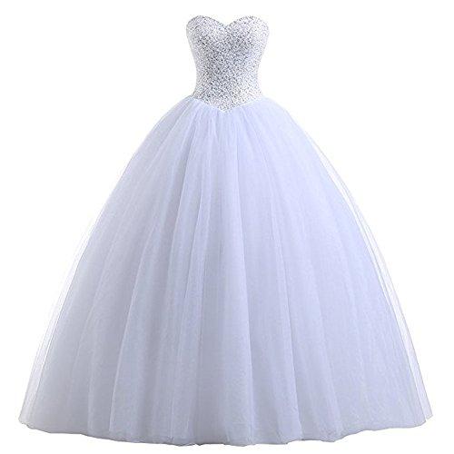 Future Girl Women's Beach Wedding Dress Strapless Corset Bodice Classic Tulle Bridal Gown White,16 -