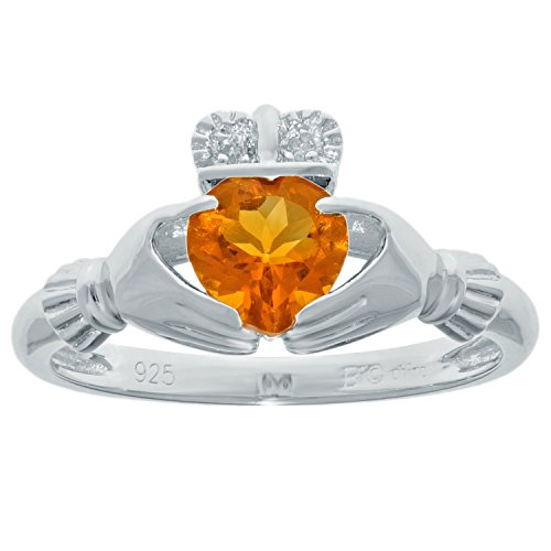 .67 Ct Heart Natural Yellow Citrine Diamond 925 Sterling Silver Ring Size 6