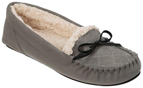 Dearfoams Womens Microsuede Moccasin Slippers Grey Multi y3rTcz6