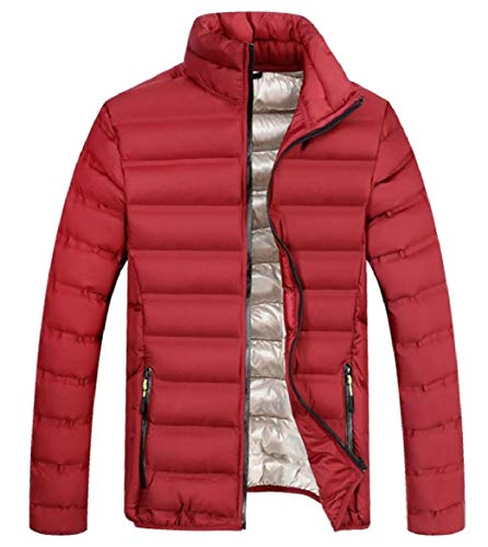 Jacket Warm Red Coats Collar Down Puffer Winter Stand Lightweight security Packable Mens wqBEv71