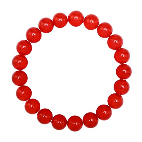 BRCbeads Gemstone Bracelets Red Jade Enhance Color Natural Gemstone Birthstone Handmade Healing Power Crystal Beads Elastic Stretch 10mm 7.5 Inch with…