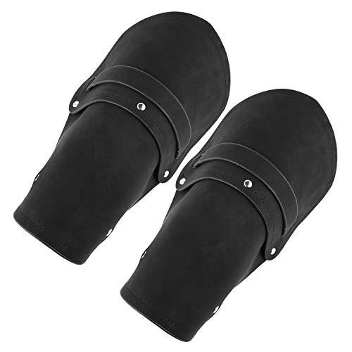 HZMAN Leather Gauntlet Wristband Medieval Bracers Wrist Band Wide Bracer Arm Armor Cuff, 2 Pcs (Black)