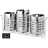Quality Cops Stainless Steel Holder and Stand with 6 Spoon and 6 Fork - Set of 3