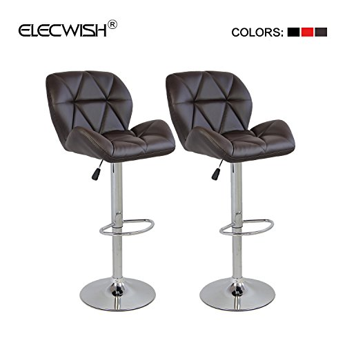 Elecwish Bar Stools Set of 2 White PU Leather Seat with Chrome Base Swivel Dining Chair Barstools Brown 2pcs