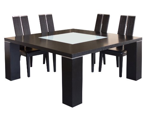 Sharelle Furnishings Elite Wenge Square Dining Table with Glass Insert