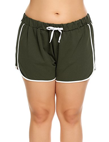 Zeagoo Women Plus Size Elastic Waist Runner Pants White Outline Active Lounge Shorts(16 24W)