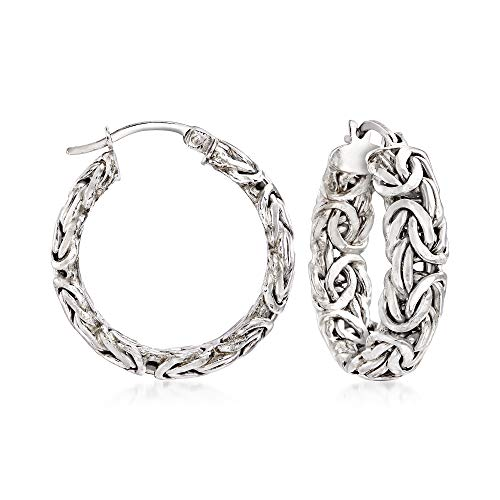 RossSimons Sterling Silver Small Byzantine Hoop Earrings