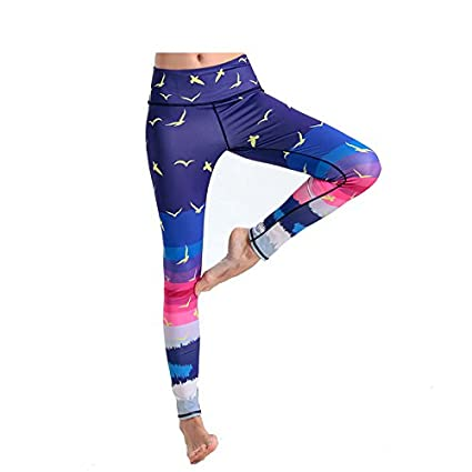 0d4a680f296040 Amazon.com : ZOOB MILEY Women Printed Yoga Pants Full Length Gym Sports  Tights Workout Leggings Navy Tag M : Sports & Outdoors