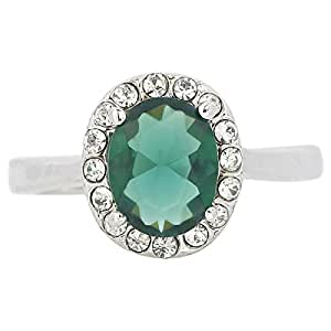 Giro Woman's Alloy Green Stone Ring - G0069-18 mm