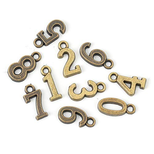 Number Pendant Charms, 0-9, 3 Sets (30 Pieces), DIY Crafts Jewelry Making, Personalization (Bronze Tone)
