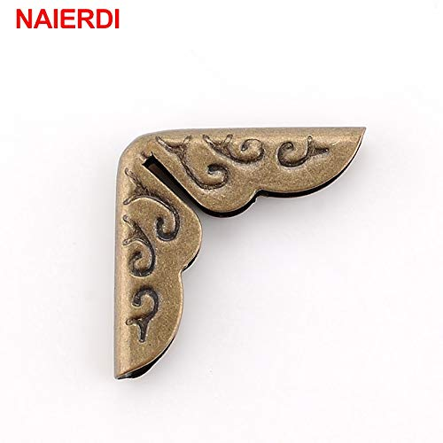 TOLOVI NAIERDI 24pcs 15x15x3mm Antique Brass Metal Book Scrapbooking Notebook Albums Menus Folders Corner Protectors Bronze Tone