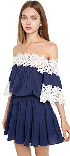 [Medieval Renaissance Style Off The Shoulder Lace Trim Smock A Line Mini Dress Blue 2XL] (Renaissance Style Dress)