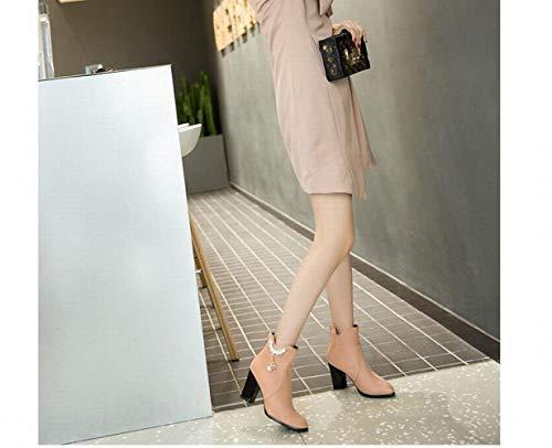Heel Heel S Women' Tacco Tacco Alto Alto Alto Stivali 36 Winter Boots Alto Size Stivali Bottini Del Albicocca 43 Martin Large Spesso XQY Donne Pwx4Zq56q