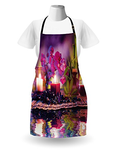 Lunarable Spa Apron, Violet Composition Candles Oil Orchids Bamboo on Water Natural Leaves, Unisex Kitchen Bib Apron with Adjustable Neck for Cooking Baking Gardening, Violet Fuchsia Lime Green by Lunarable (Image #1)