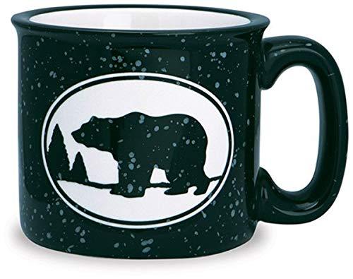 Black and White Woodland Bear Classic Camp Style Ceramic Mug, 15 oz (Shore Bears)