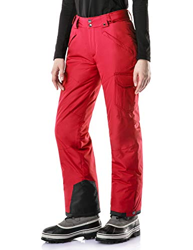 TSLA Women's Rip-Stop Snow Pants Windproof Ski Insulated Water-Repel Bottoms, Snow Cargo(xkb92) - Red, X-Large (Waist32.5~34.5,Hips:44.5~46.5 Inch)