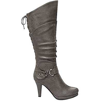 Amazon.com | Top Moda PAGE-65 Women's Knee High Round Toe Lace-up ...