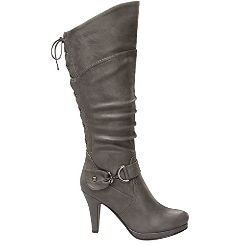 Moda Round Knee High Boots High 65 Slouched Up Womens Heel Grey Lace Page Toe Top YwqgdIY