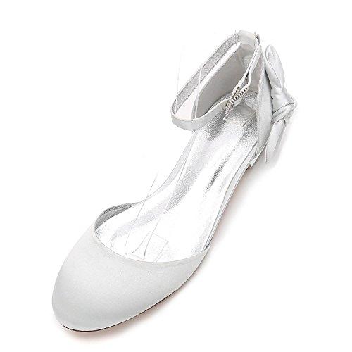 De Silver Avec Femmes Talon F5049 Cristal Toe L Satin yc Fermé Chaussures Mariage Soirée Sandals Porm 29 Mariée XBq4Tw