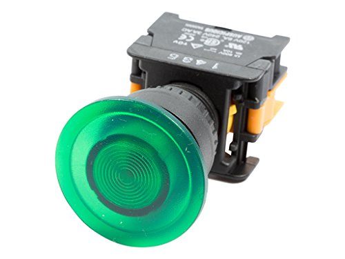 Alpinetech LEX-22 Green 22mm 1NO Momentary Push Button Switch 12V LED Illuminated (Push Button Momentary Illuminated)