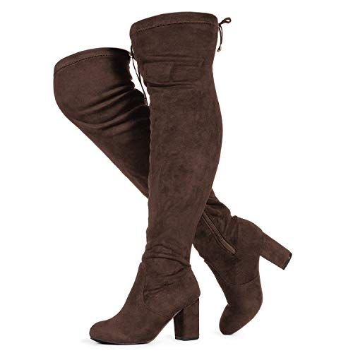 RF ROOM OF FASHION Women's Wide Calf Over The Knee Chunky Heel Stretch Boots Brown SU Size.8.5