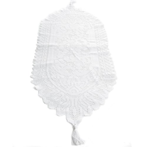 (kilofly Heritage Floral Lace Table Runner with Tassels, 35 x 13 inch, White)