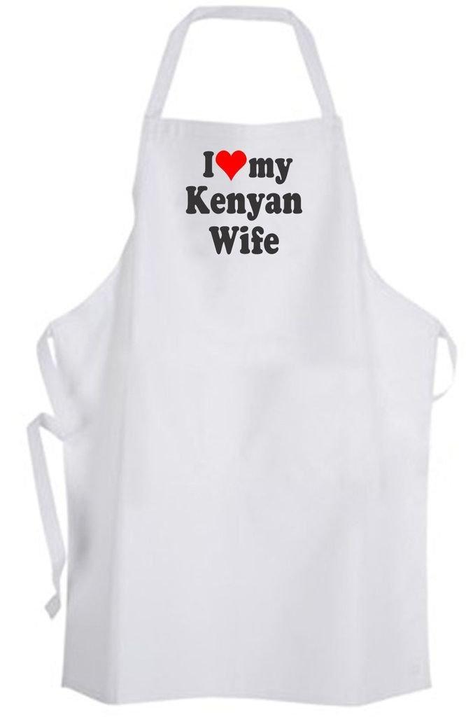 I Love Kenyan Wife – Adult Size Apron – Wedding Marriage Husband