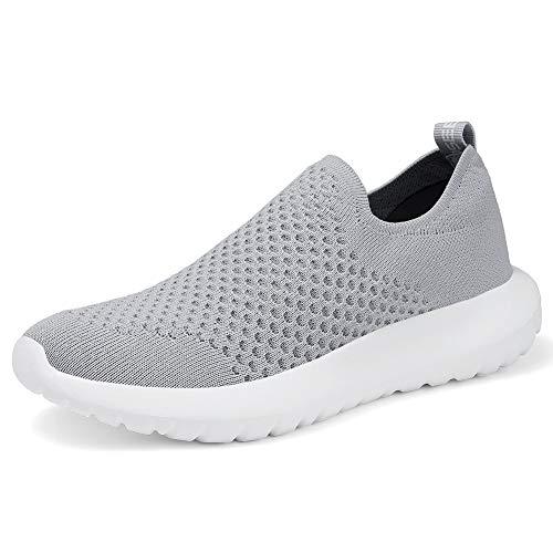TIOSEBON Women's Casual Walking Shoes Slip On Travel Sneakers 9 US Gray