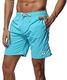 SHEKINI Men's Swim Trunks Short Quick Dry Slim fit Lightweight, No Mesh Lining (XXX-Large (Waist:38''), Sky Blue)
