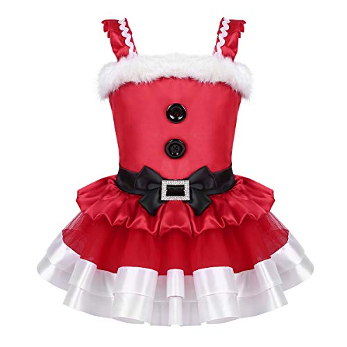 Agoky Infant Baby Girls Christmas Mrs Santa Claus Dress Xmas Costumes Fancy Tutu Party Dresses Red with Bowknot 4 -