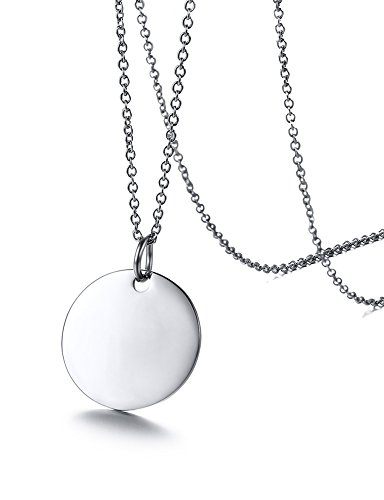 Ximi Jewelry Stainless Steel Disc Coin Pendant Necklace for Womens Teen Girls,18