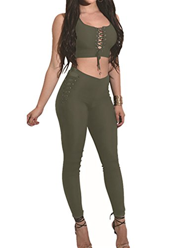 Sexy Military Outfits (Yodesing Women's Sleeveless Two Piece Outfits Sexy Criss Cross Bandage Club Party Romper Jumpsuit (X-Large, Army Green))