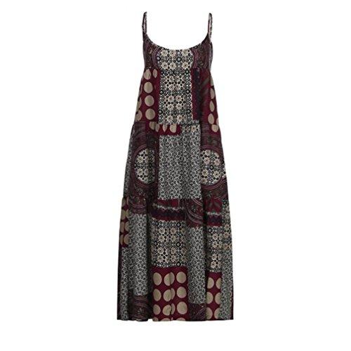 de suelto de OverDose vestidos más el mujeres verano tirantes bohe mangas del sin tirantes de tamaño Rojo verano lino las de anIBnr8
