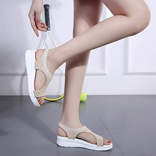CCOOfhhc Women's Flat Sandals Comfy Platform Sandal Shoes Summer Beach Travel Shoes Non-Slip Casual Shoes Beige by CCOOfhhc (Image #5)