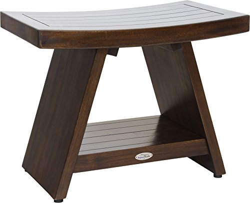 "AquaTeak Patented 24"" Asia Walnut-Colored Teak Shower Bench with Shelf"