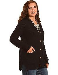 Women's Long Sleeve Drop Shoulder Shaker Ribbed Cardigan Plus - M4xc358-Blk Plus