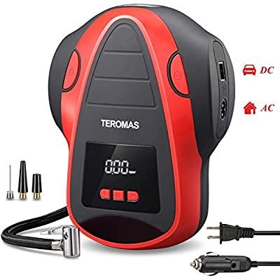 TEROMAS Tire Inflator Air Compressor, Portable DC/AC Air Pump for Car Tires 12V DC and Other Inflatables at Home 110V AC, Digital Electric Tire Pump with Pressure Gauge: Automotive