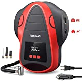 TEROMAS Tire Inflator Air Compressor, Portable DC/AC Air Pump for Car Tires 12V DC and Other Inflatables at Home 110V AC, Digital Electric Tire Pump with Pressure Gauge