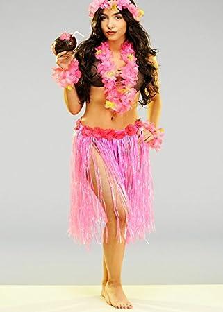Falda hawaiana rosada linda de las mujeres: Amazon.es: Juguetes y ...