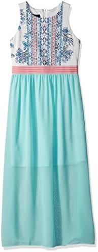 Amy Byer Big Girls' Print Knit to Woven Maxi Dress with Elastic Waistband