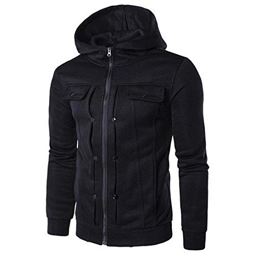 Price comparison product image Binmer Clearance Men's Autumn Winter Fashion Men Slim Designed Hooded Top Cardigan Coat Jacket (M, Black)